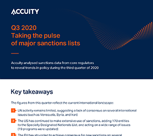 Q3 2020: Taking the pulse of major Sanctions lists