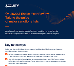 Q4 2020: Taking the pulse of major Sanctions lists